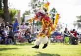 A St. Joseph's student dances in a pow wow. Courtesy of St. Joseph's Indian School.