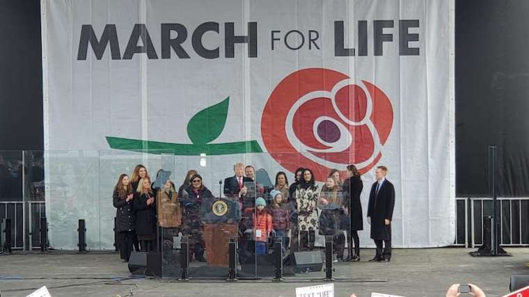 President Donald Trump takes the stage at the 2020 March for Life. Credit: Peter Zelasko/CNA