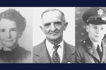 "Charlene Richard, Auguste ""Nonco"" Pelafigue, and Lt. Father Verbis Lafleur. Courtesy photo."