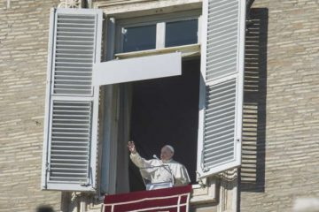 Pope Francis gives his Angelus address Jan. 1, 2020. Credit: Pablo Esparza/CNA