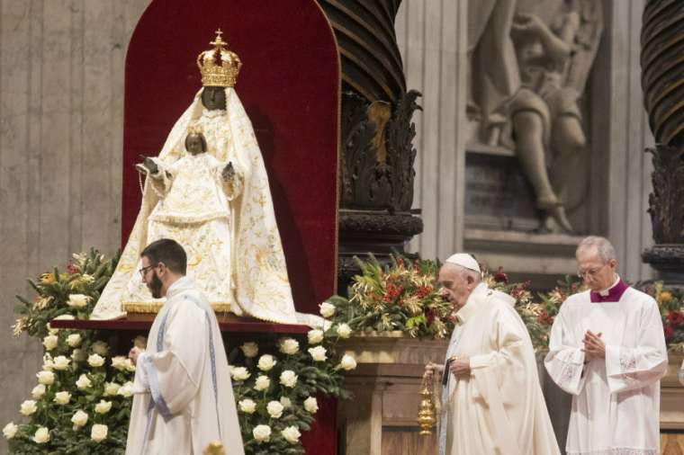 Pope Francis celebrates Mass for Solemnity of Mary, Mother of God Jan. 1, 2020. Credit: Pablo Esparza/CNA.