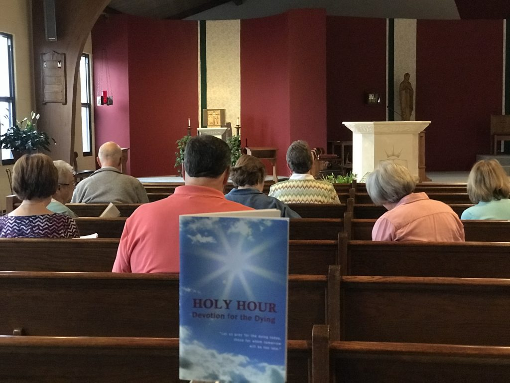 The Divine Mercy group at Queen of Peace in Hamilton, has formed the Apostolate for the Dying and are committed to pray the Chaplet of the Divine Mercy each day at the 3 o'clock Hour of Mercy. They meet in church every Tuesday and Friday at 3 p.m. to pray for the sick and dying.