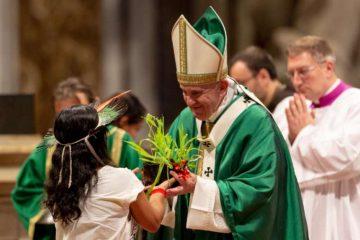 Pope Francis celebrates the closing Mass of Amazon synod October 27, 2019. Credit: Daniel Ibáñez/CNA