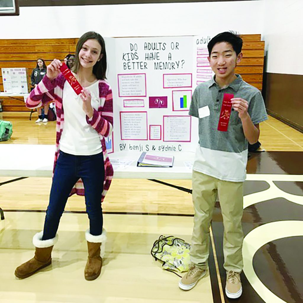 On Jan. 9, St. Ignatius of Loyola students competed in the Fifth Annual Roger Bacon High School Science Fair, winning 1st and 2nd places among elementary students in addition to $1,500 and $500 scholarships to any archdiocesan high school. Pictured are 2nd place winners Sydnie C. and Benji S.