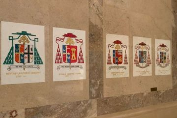 Coats of arms on display in the Cathedral of St. Matthew, Washington, after the removal of the arms of Theodore McCarrick. Credit: Christine Rousselle/CNA