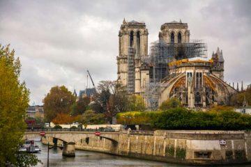Repair scaffolding on Notre-Dame de Paris, November 2019. Credit: Vicente Sargues/Shutterstock.