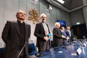 Vatican officials at a Feb. 12 press conference. Credit: Daniel Ibanez/CNA