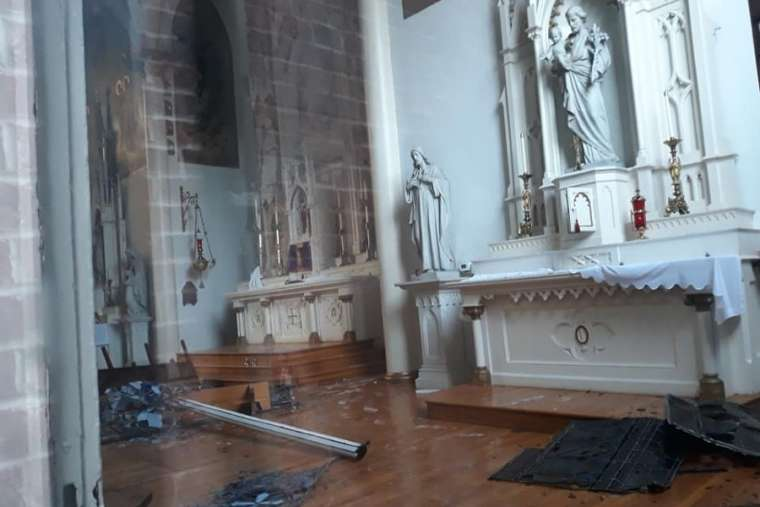 Storm damage to the Church of the Assumption in Germantown, Tennessee. Credit: Mark Cassman