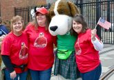 Seton High School Mascot with Seton Alumni at the 2019 Opening Day Parade (CT Photo/Greg Hartman)