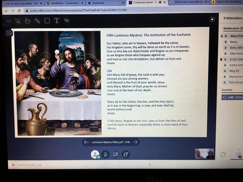 Christ the King parishioners meet online to pray the Rosary. The parish uses technology to provide its parishioners with alternatives to traditional worship.