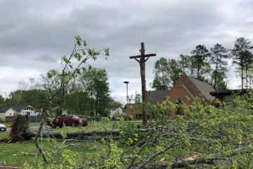 A crucifix outside a Tennessee church after storms over Easter, 2020. Credit: Office of Rep. Chuck Fleischmann