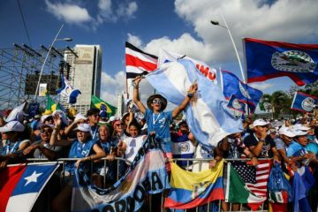 Young pilgrims gather before World Youth Day Panama opening Mass Jan. 22, 2019. Credit: Daniel Ibanez/CNA