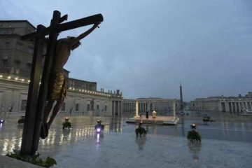 Pope Francis speaks in an empty St. Peter's Square during a holy hour and extraordinary Urbi et Orbi blessing, March 27, 2020. Credit: Vatican Media/CNA