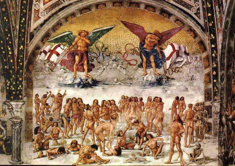 Resurrection of the Flesh, fresco by Luca Signorelli in the San Brizio chapel of Orvieto Cathedral (1499-1502)