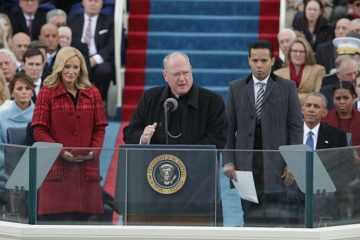 Cardinal Timothy Dolan delivers remarks on the West Front of the U.S. Capitol at the January 20, 2017 inauguration ceremony of Donald Trump. Credit: Alex Wong/Getty Images