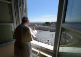 Pope Francis offers a blessing from the window of the Apostolic Palance April 26, 2020. Credit: Vatican Media/CNA.