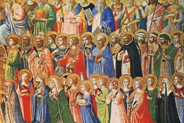 "Fra Angelico, ""The Forerunners of Christ with Saints and Martyrs"" (c. 1423-24). Public domain."